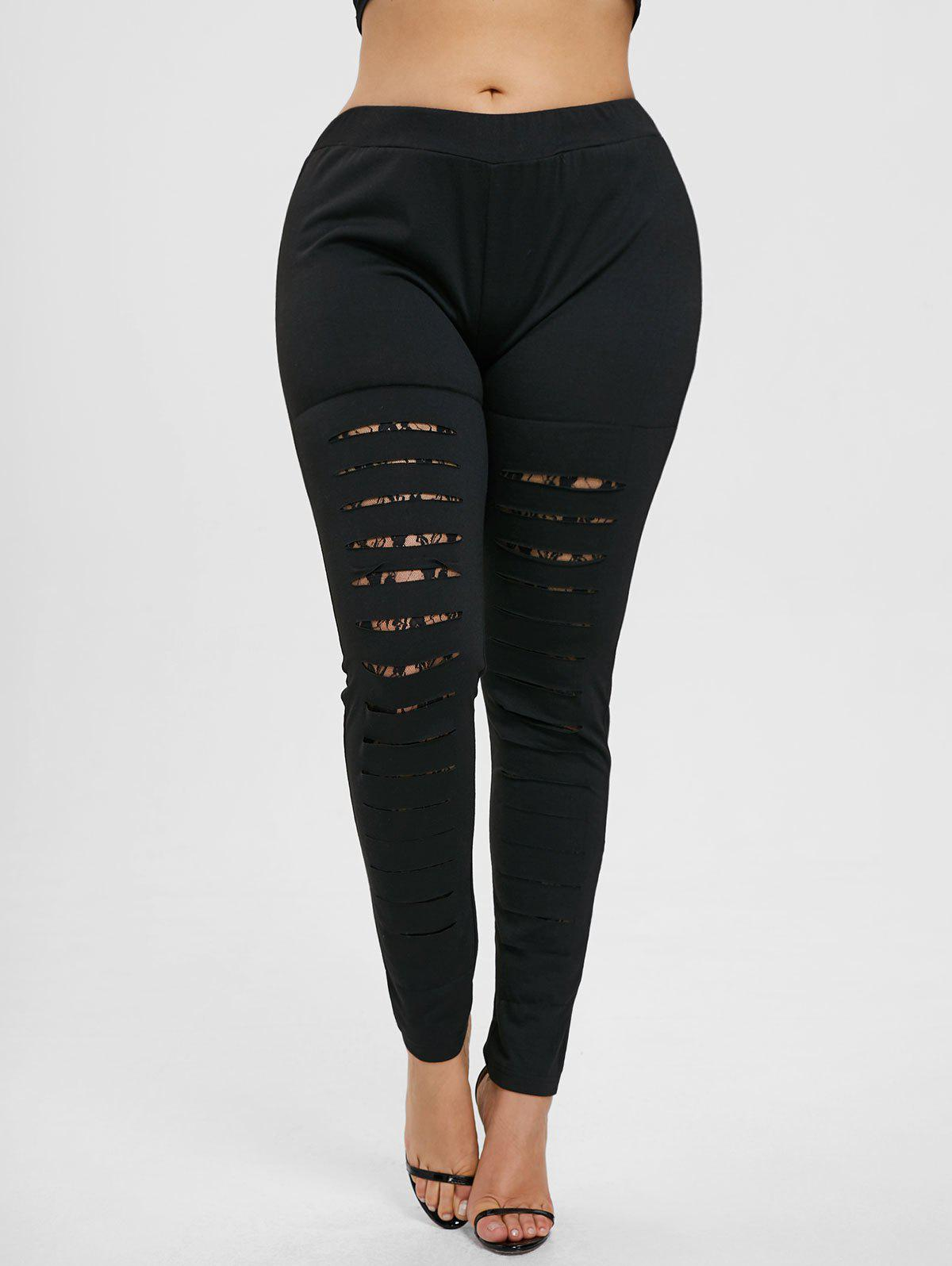 New Plus Size Lace Ladder Cut Out Leggings