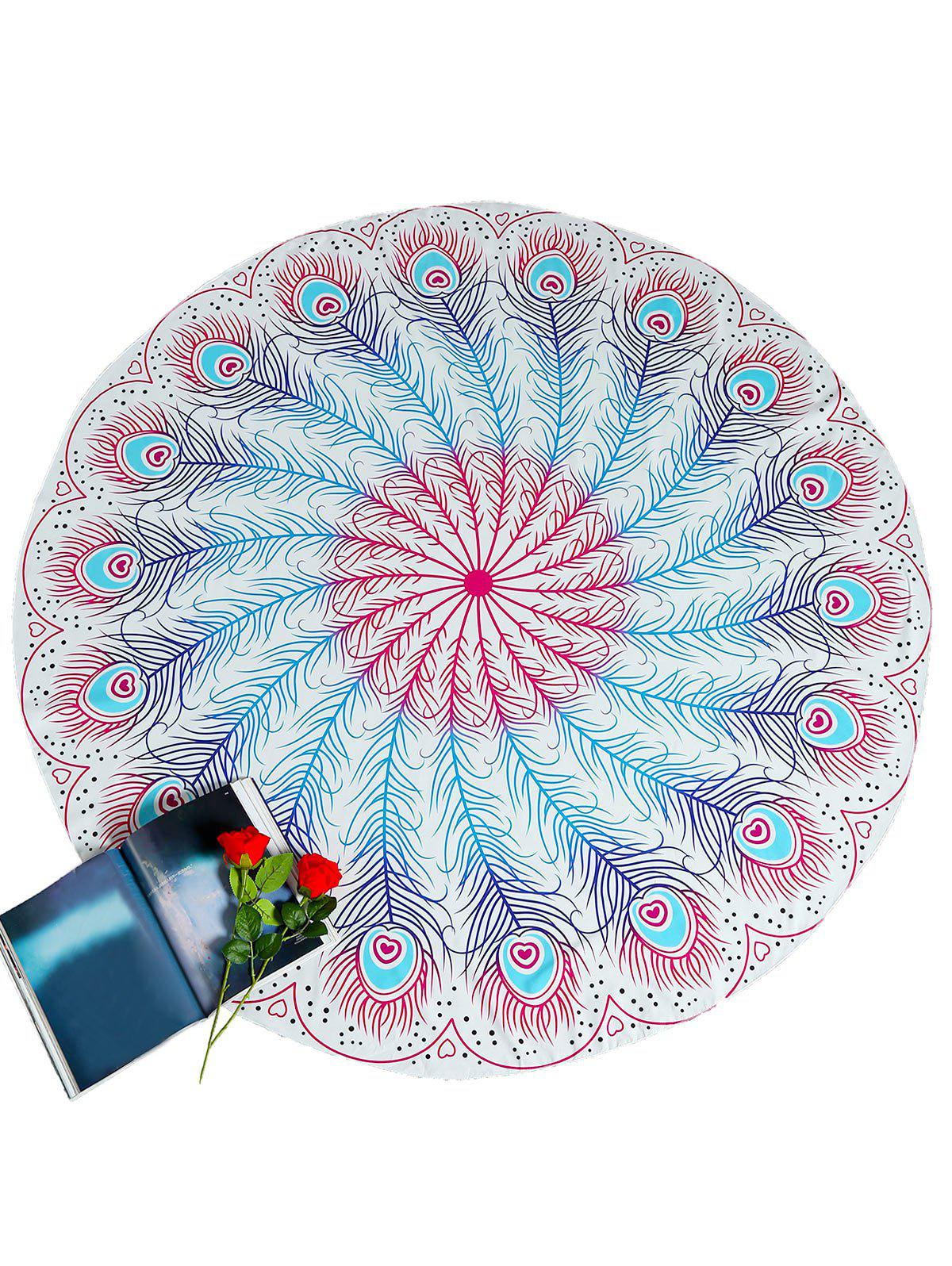 Buy Feather Pattern Round Beach Throw