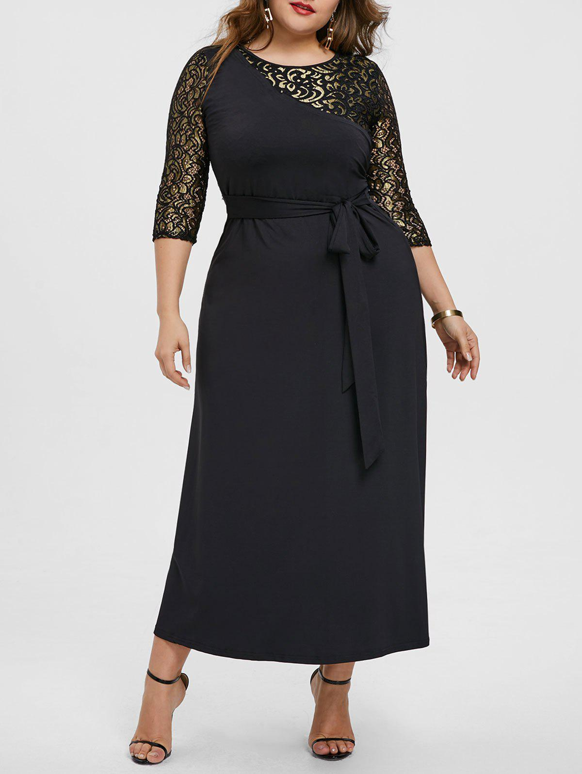Contrast Lace Panel Plus Size Maxi Dress
