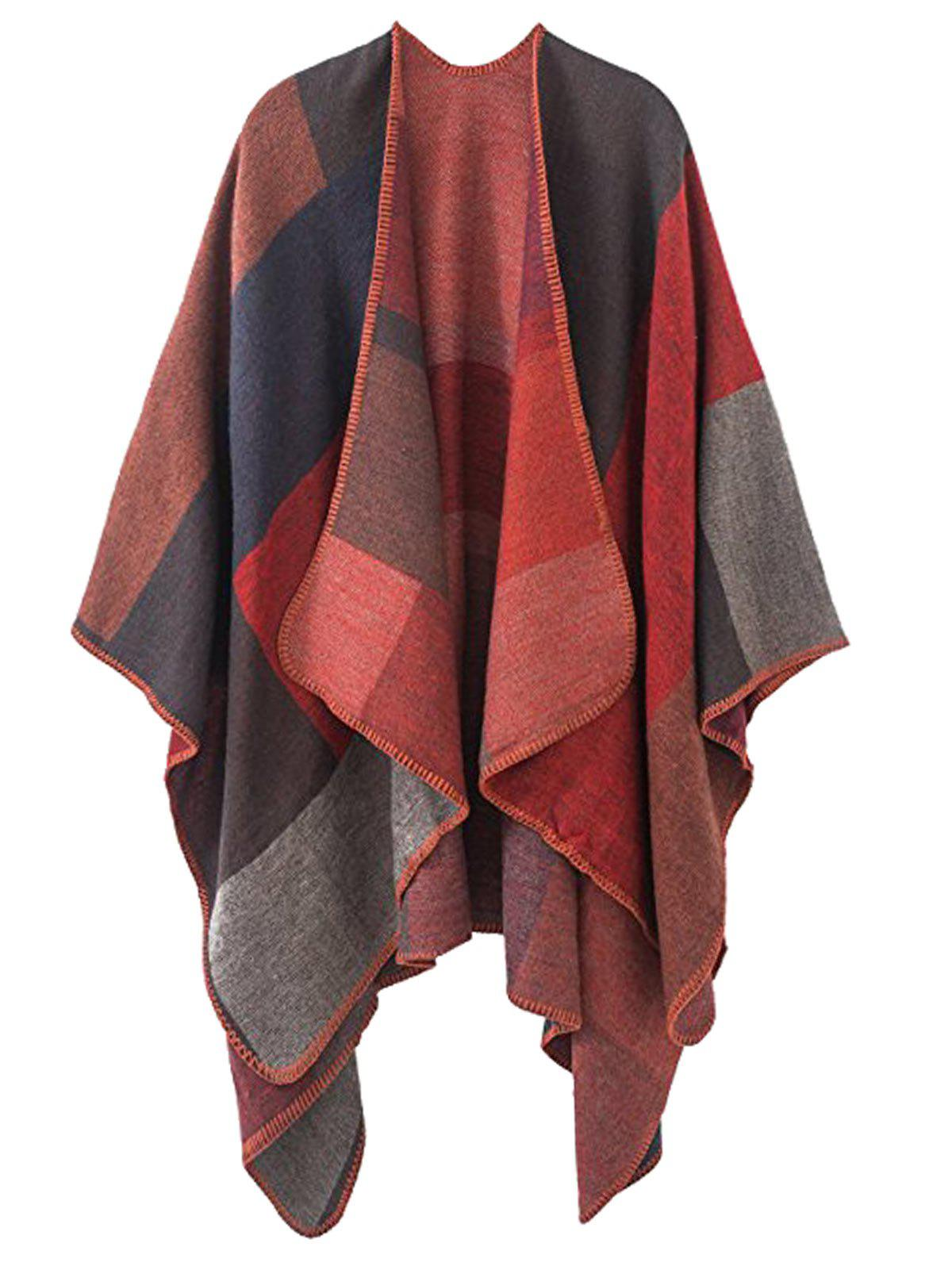Shops Color Block Collarless Plus Size Poncho