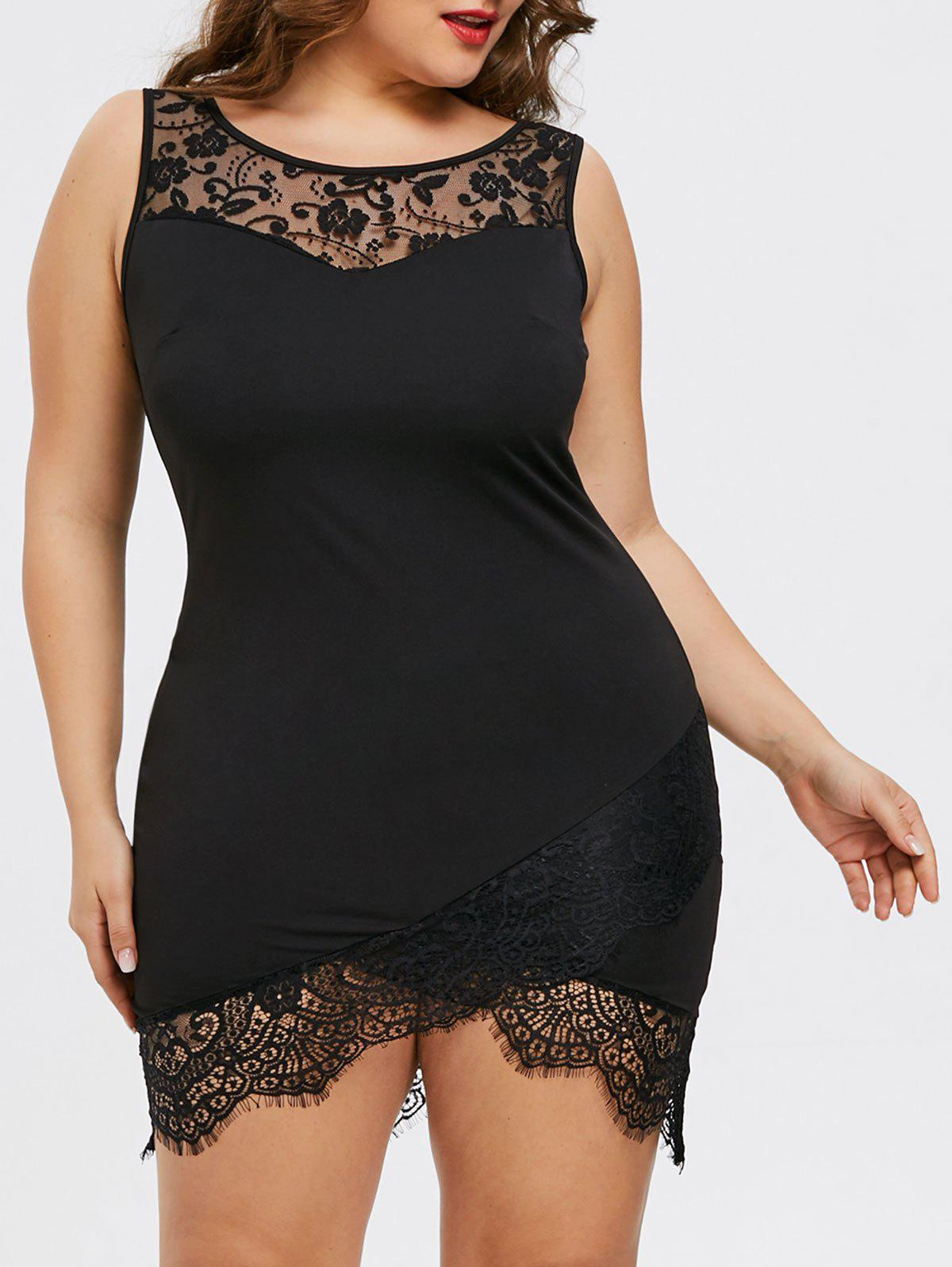 Affordable Plus Size Lace Trim Mini Fitted Dress