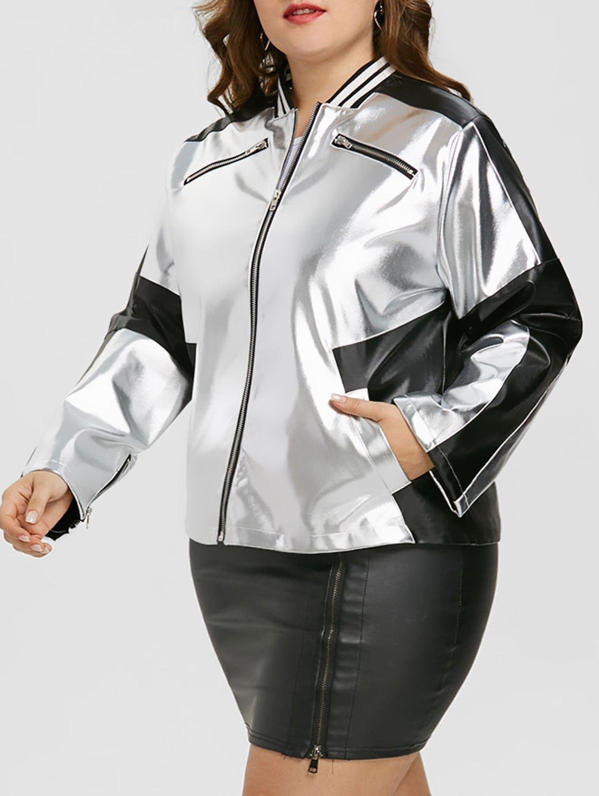 Sale Faux Leather Panel Zipper Plus Size Jacket