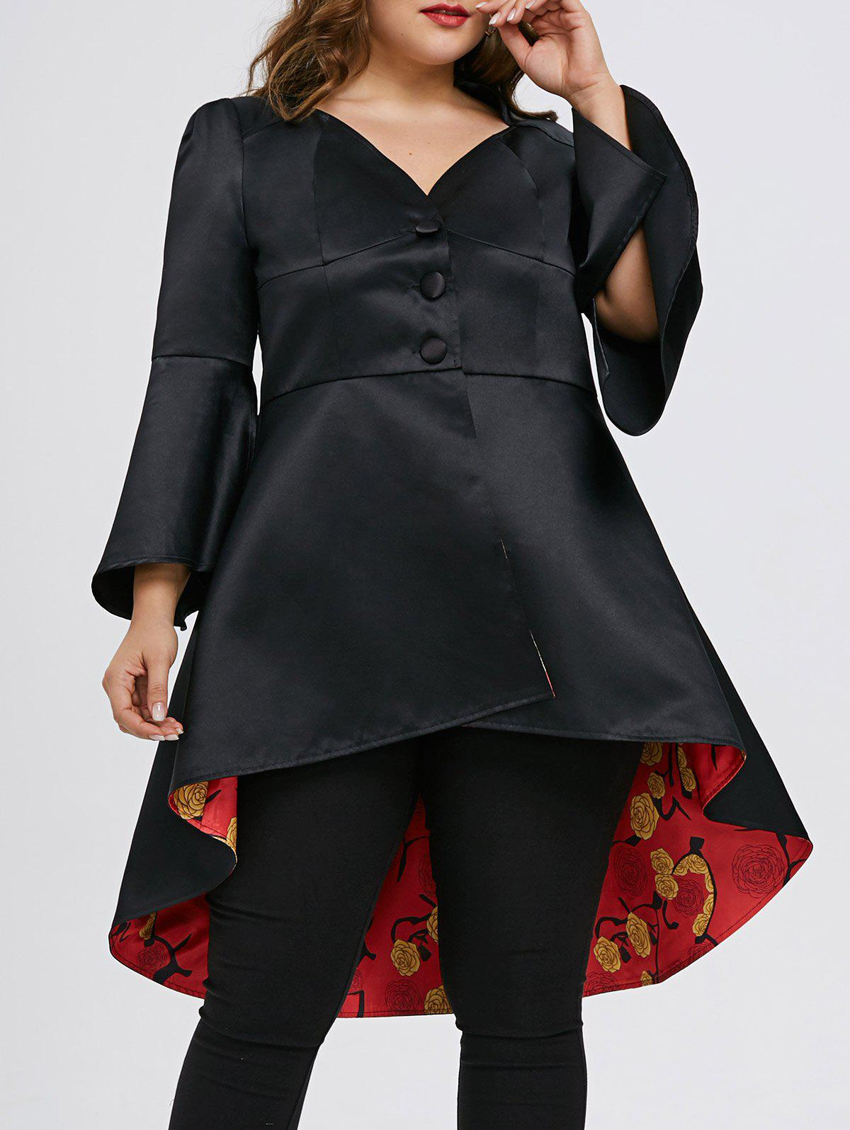 Unique High Low Lace Up Plus Size Skirted Coat