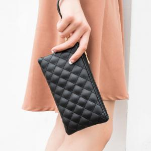 PU Leather Quilted Wristlet -