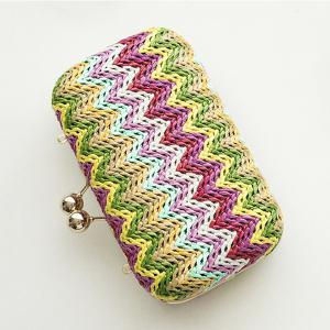 Zig Zag Color Block Chain Evening Bag -