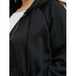 Plus Size Zip Up Long Graphic Hoodie -