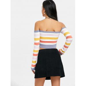 Off The Shoulder Colored Stripe Sweater -