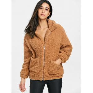Fuzzy Front Pocket Zipped Coat -
