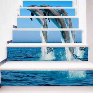 Jumping Dolphins Pattern Decorative Stair Stickers -