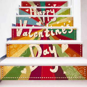 Valentine's Day Colorful Stair Riser Stickers -