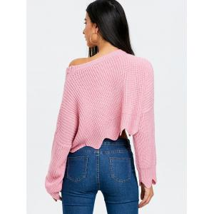 Skew  Neck Scalloped Crop Sweater -