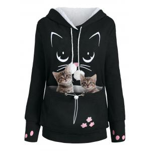 Plus Size Cat Holder Pouch Pocket Hoodie -