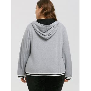 Plus Size Faux Leather Insert Zipper Hoodie -