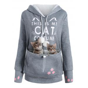Plus Size Cat Pouch Pocket Hoodie -