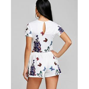 Floral Crop Top With High Waisted Shorts -