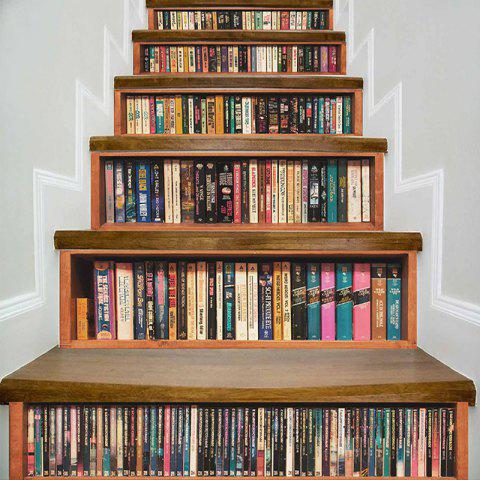 Latest Bookshelf Pattern DIY Decorative Stair Stickers