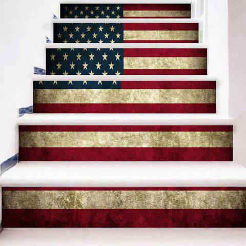 Discount Vintage American Flag Pattern Decorative Stair Stickers
