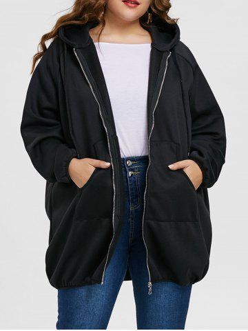 New Plus Size Zip Up Long Graphic Hoodie