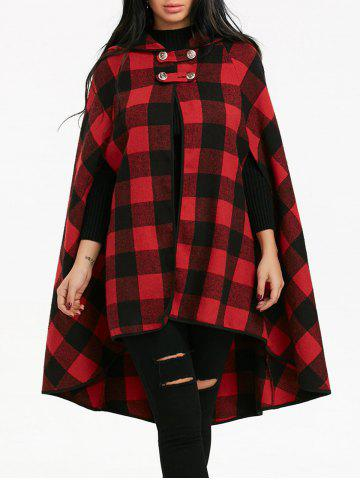 Store Batwing Sleeve Plaid Hooded Cape Coat