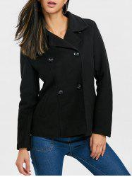 Lapel Collar Double Breasted Coat -