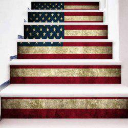 Vintage American Flag Pattern Decorative Stair Stickers -