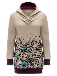Floral and Leaves Print Tunic Hoodie -