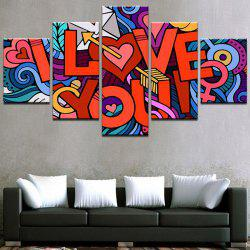 Valentine's Day I Love You Print Split Unframed Canvas Paintings -