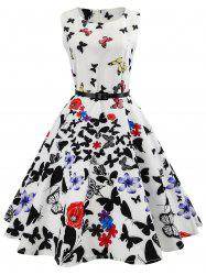 Sleeveless Butterfly Printed Swing Dress -