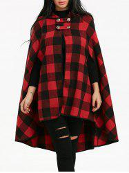 Batwing Sleeve Plaid Hooded Cape Coat -