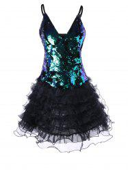 Backless Sequin Cami Tutu Corset Dress -