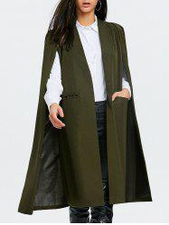 Slit Pocket Longline Cape Coat -