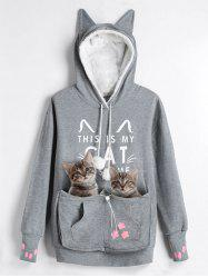 Plus Size Cat Pouch Pocket Hoodie - Gray - Xl