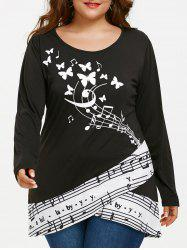 Musical Notes Butterfly Print Plus Size T-shirt -
