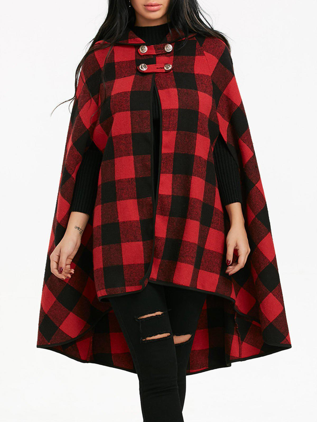 Unique Batwing Sleeve Plaid Hooded Cape Coat