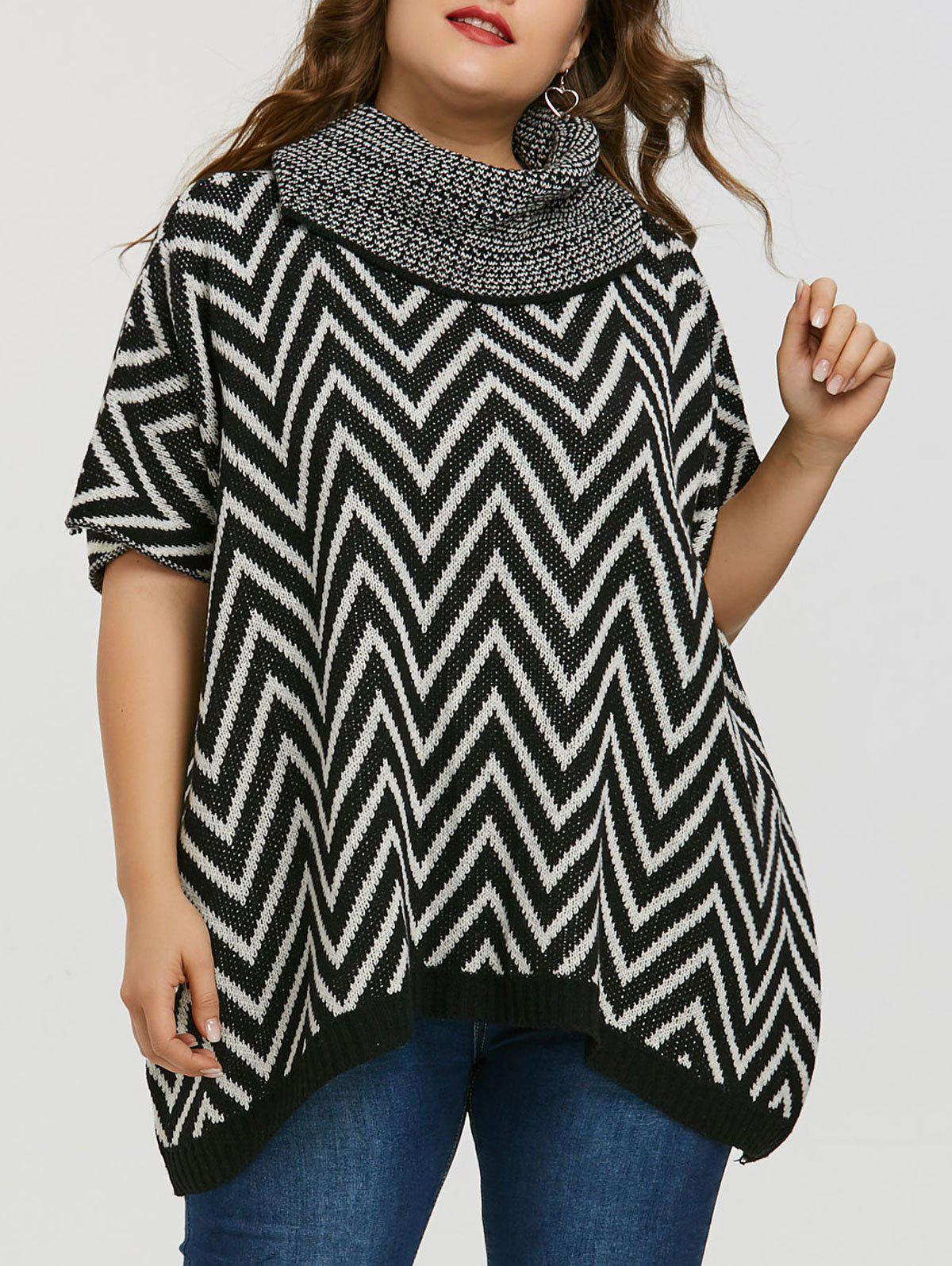 Discount Plus Size Turtleneck Chevron Sweater