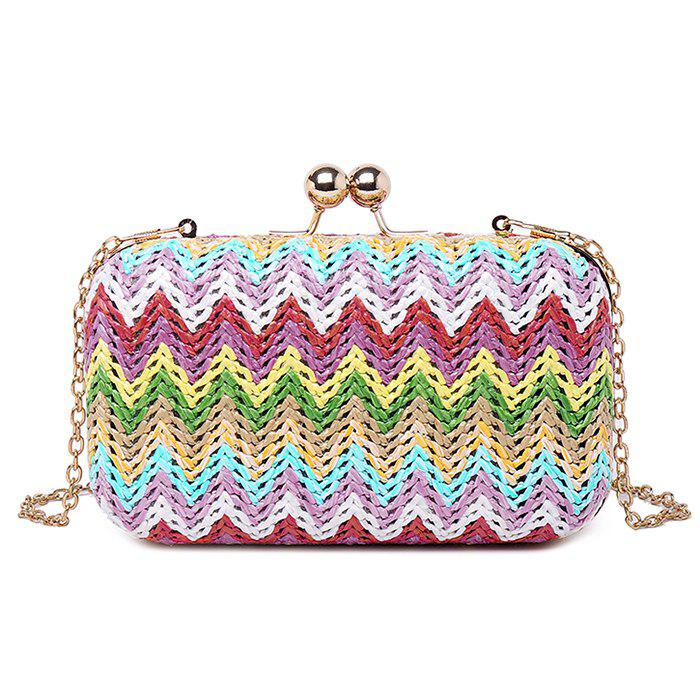 Unique Zig Zag Color Block Chain Evening Bag