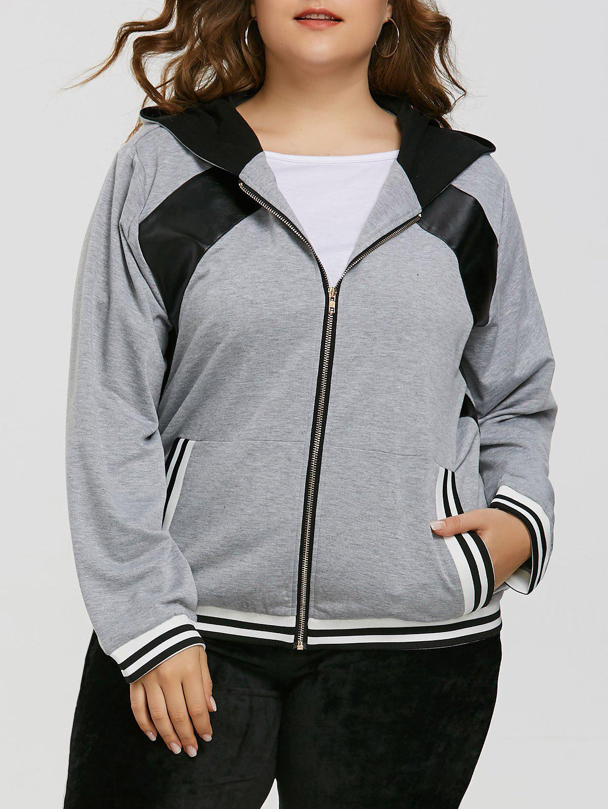 Cheap Plus Size Faux Leather Insert Zipper Hoodie
