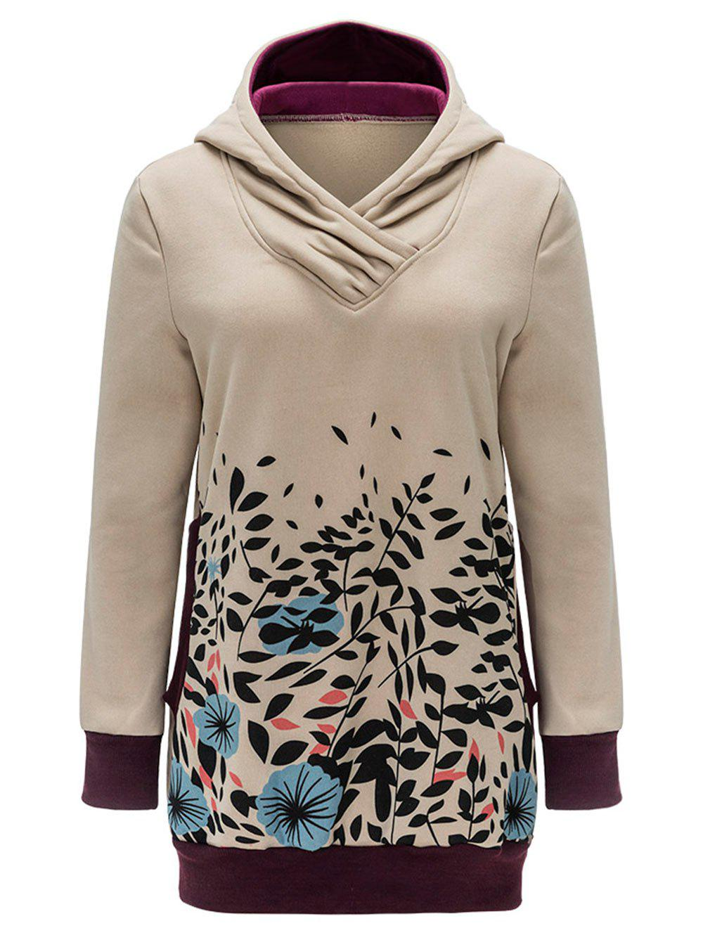 Affordable Floral and Leaves Print Tunic Hoodie