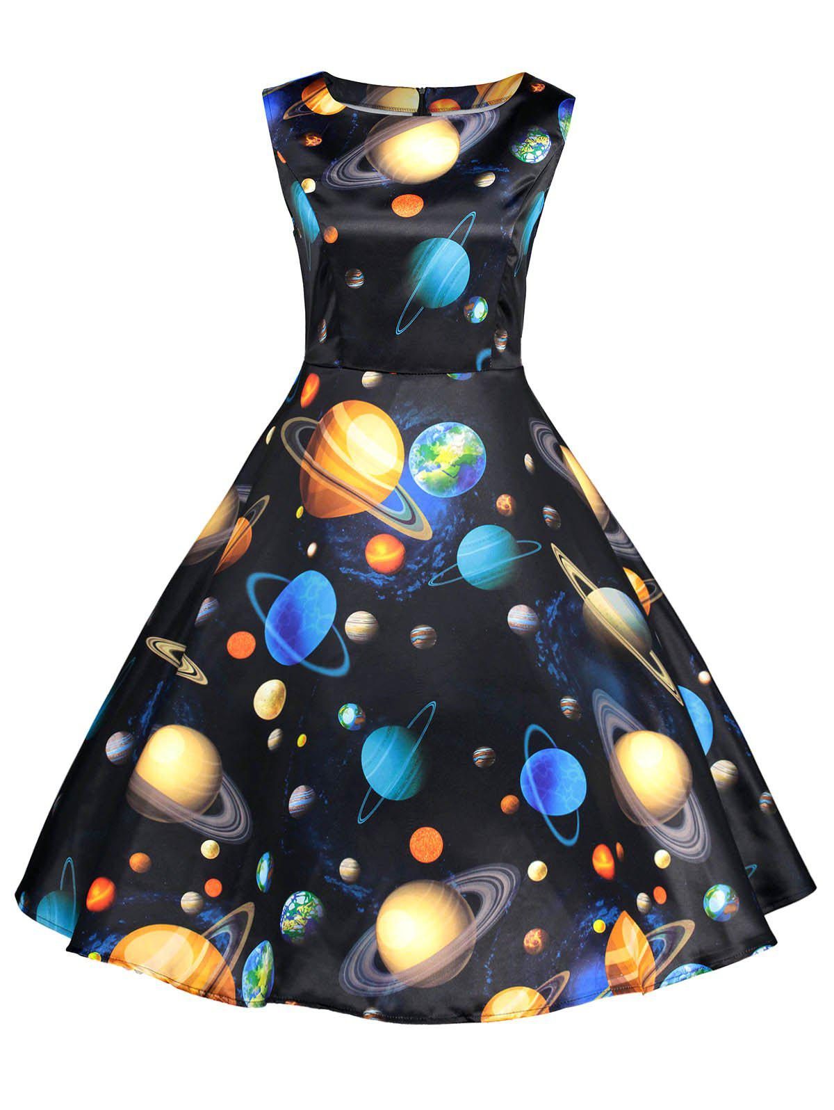 fcd7021c7597 2018 Planets Print Sleeveless Fit And Flare Dress In Colormix 2xl ...