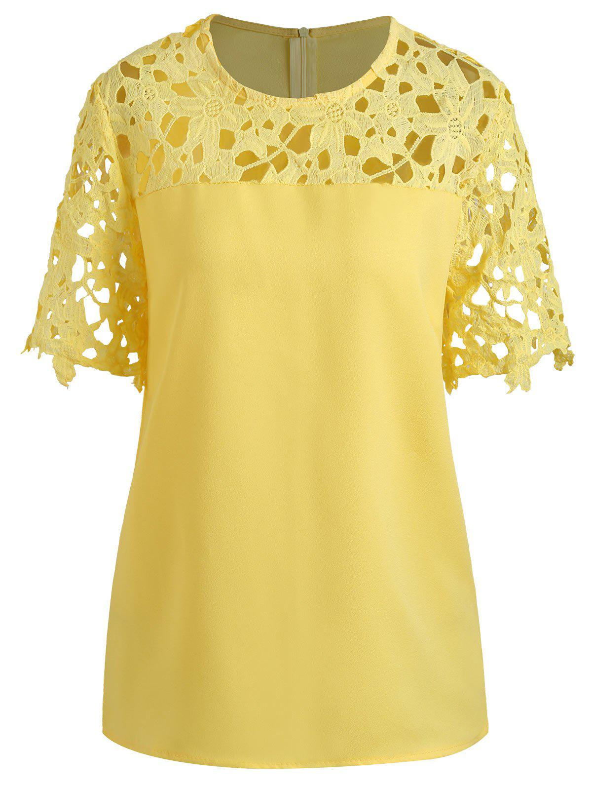 Sale Plus Size Cutout Lace Panel Blouse