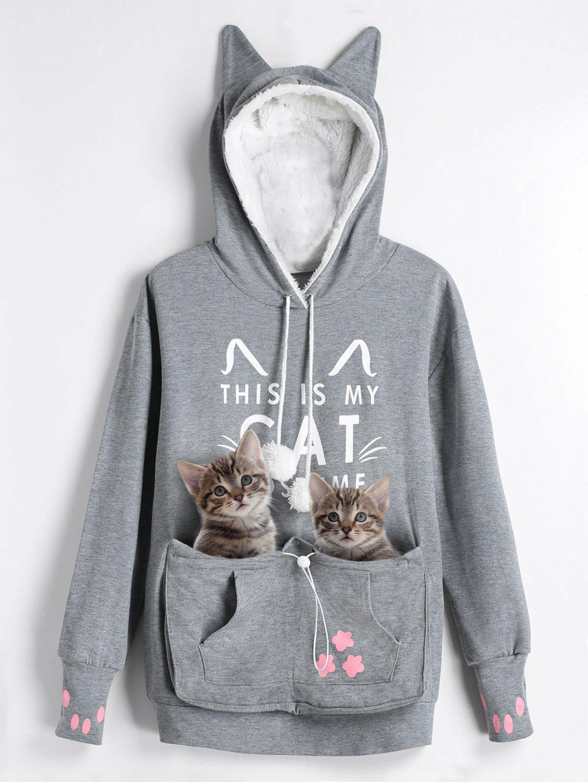 Trendy Plus Size Cat Pouch Pocket Hoodie