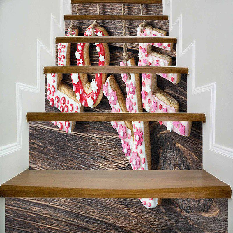 Shop Love Cookie Wood Grain Decorative Stair Stickers