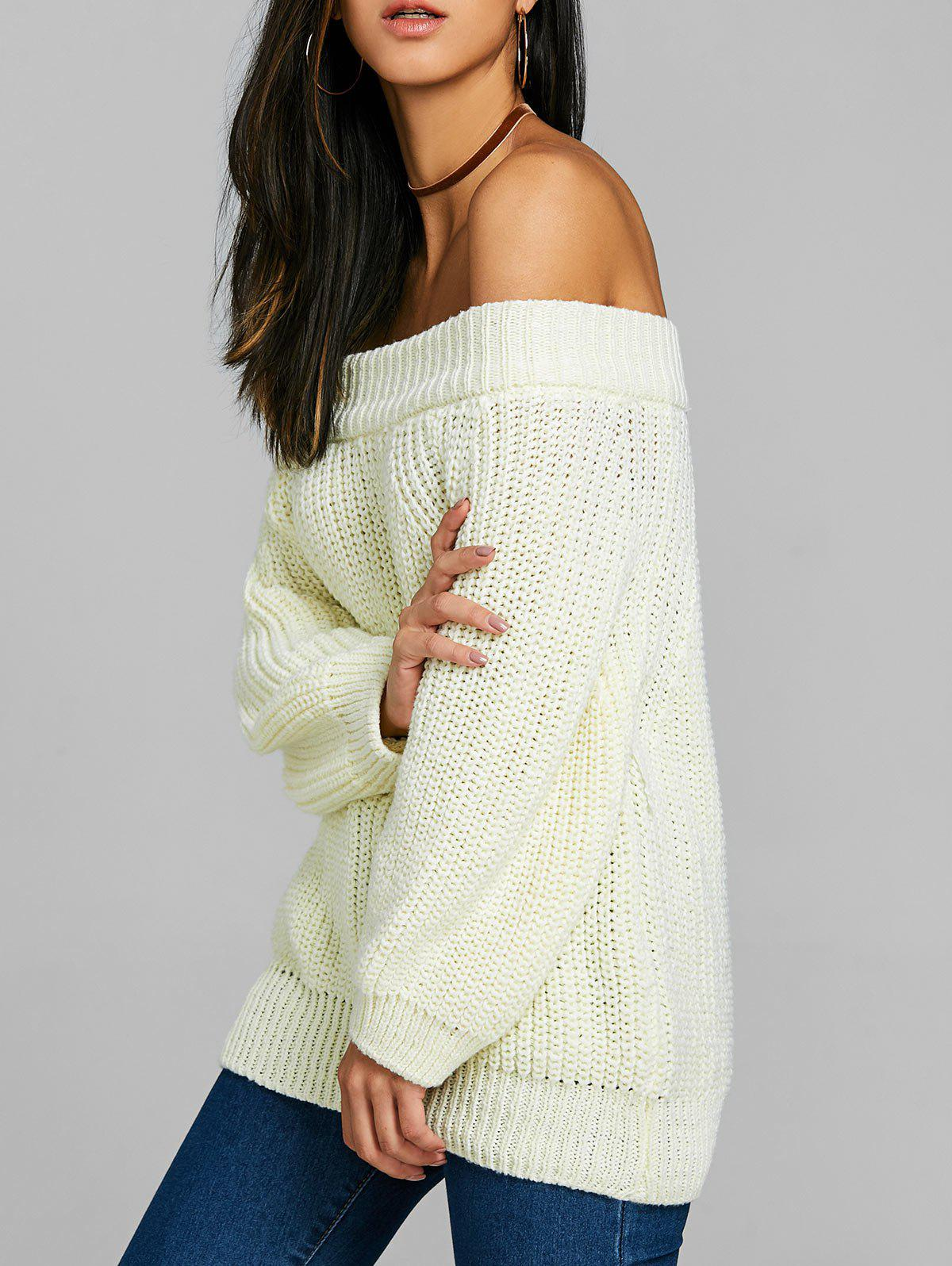 Off The Shoulder Raglan Manches Chunky Pull