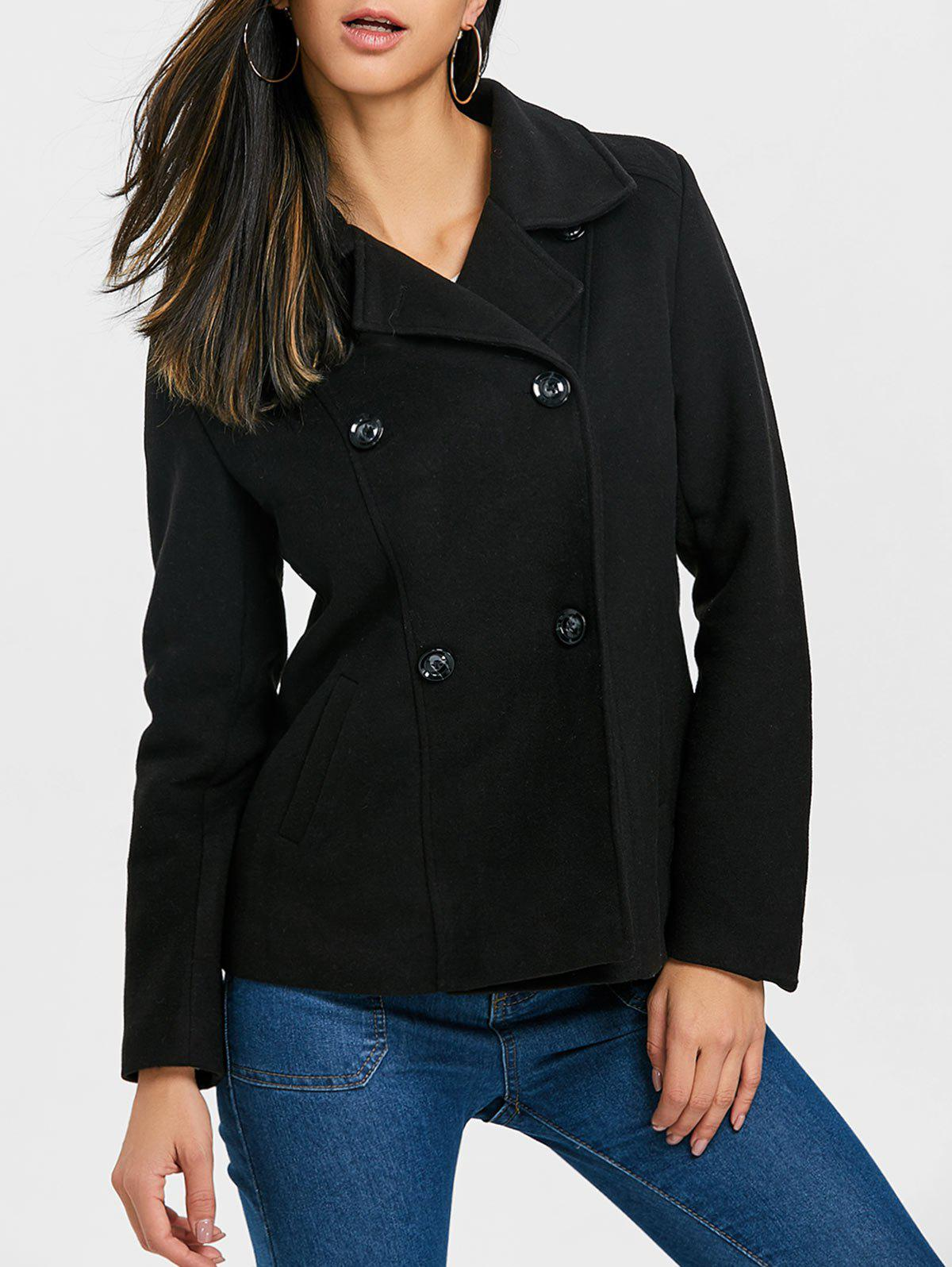 Latest Lapel Collar Double Breasted Coat