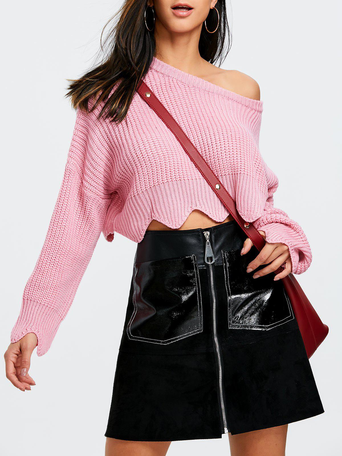Cheap Skew  Neck Scalloped Crop Sweater