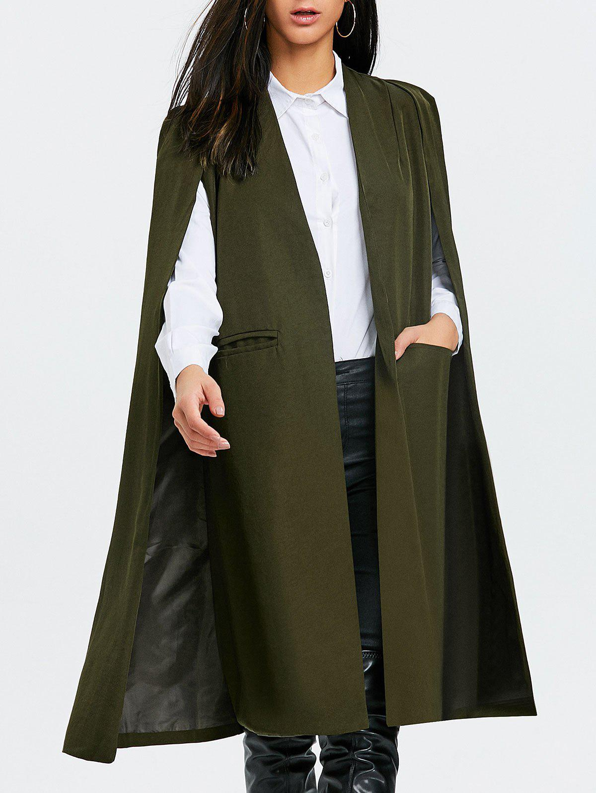 Fashion Slit Pocket Longline Cape Coat