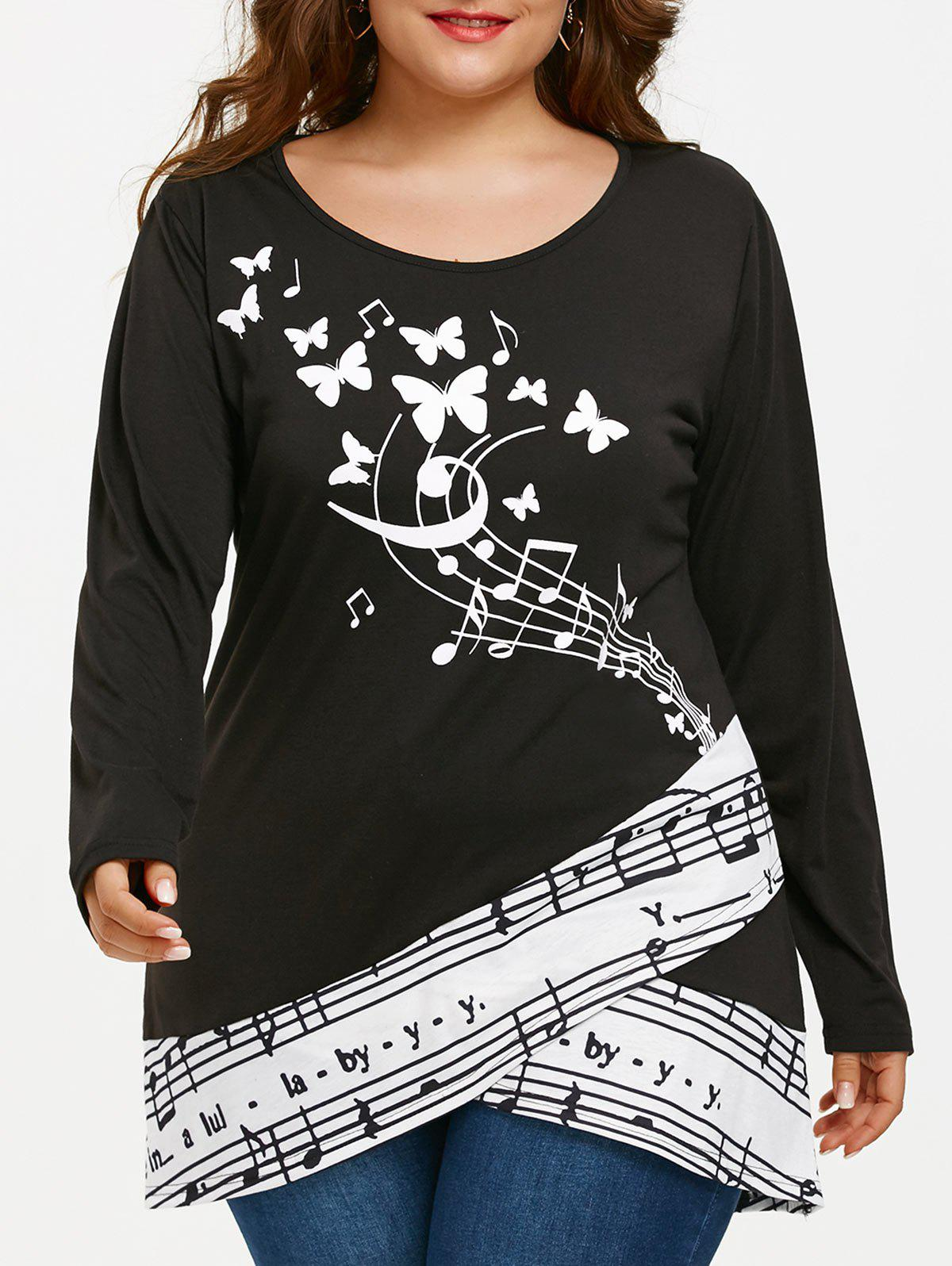 Shop Musical Notes Butterfly Print Plus Size T-shirt