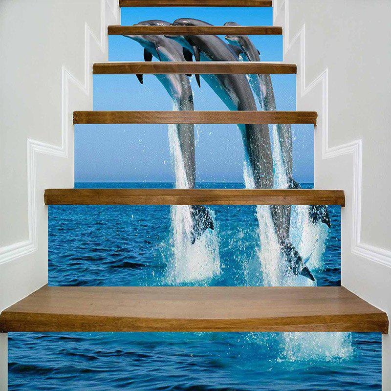 Trendy Jumping Dolphins Pattern Decorative Stair Stickers