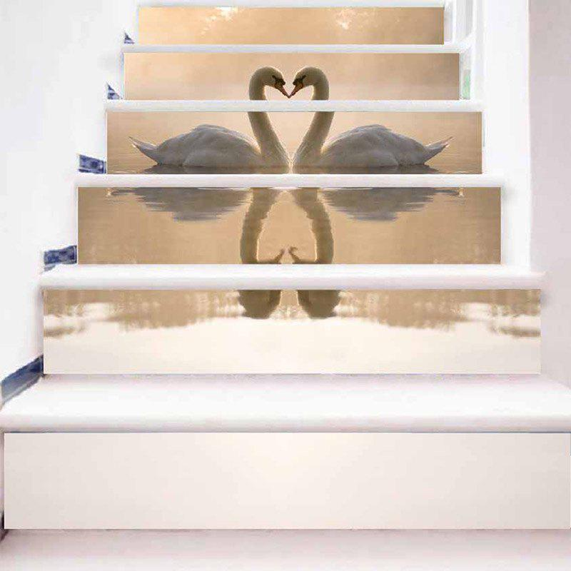 Discount Swan Lover Pattern Stair Riser Stickers