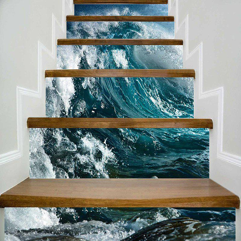 Hot Sea Wave Print DIY Decorative Stair Stickers
